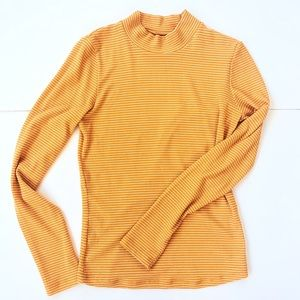 Charlotte Russe Orange & White Striped Mock Neck